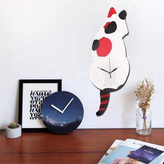 Generic Animal Shaped Modern Home Decor DIY Wall Clock Swinging Tail Mirror Clock Bedroom Home Office Decor Gift For Kids