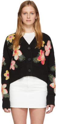 Alanui Black Cashmere Floral Cardigan