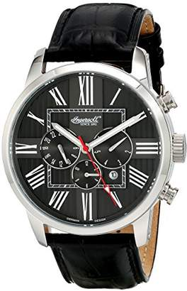 Ingersoll Unisex Automatic Watch with Black Dial Chronograph Display and Black Leather Strap IN1409BK
