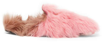Gucci Princetown Horsebit-detailed Two-tone Shearling Slippers - Baby pink