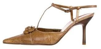 Chanel Camellia Ostrich Leg Pumps