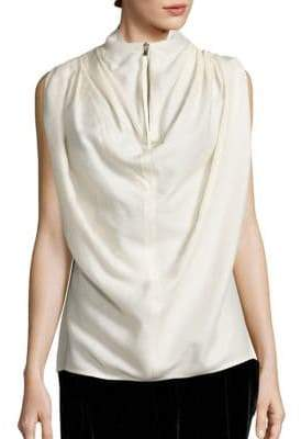 Rick Owens Silk& Wool-Blend Draped Top