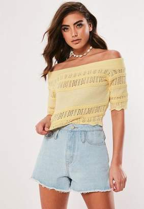 Missguided Lemon Knit Pointelle Bardot Crop Top