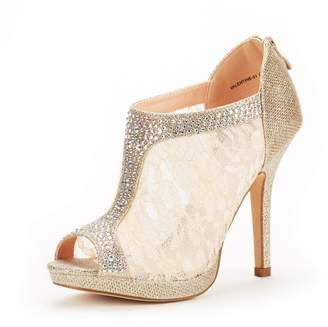 DREAM PAIRS Women's Valentine-01 Gold Glitter Fashion Dress High Heel Peep Toe Wedding Pumps Shoes