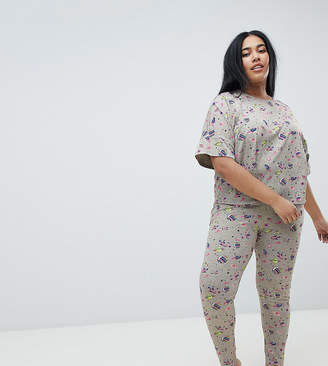 Asos DESIGN Curve Rocket In Space Legging And Boxy Tee Set