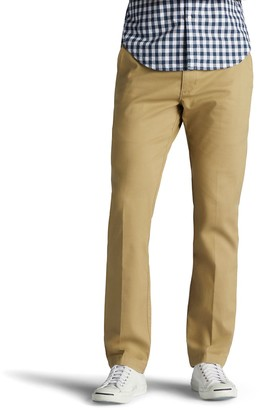 Lee Men's Performance Series Extreme Comfort Khaki Slim-Fit Flat-Front Pants