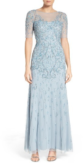 Adrianna Papell Women's Adrianna Papell Embellished A-Line Gown
