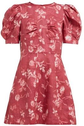 Sea Monet Floral Print Puff Sleeve Mini Dress - Womens - Dark Pink
