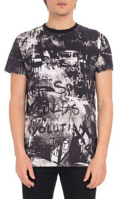 Balmain Men's Crewneck Short-Sleeve Graffiti-Print Cotton T-Shirt