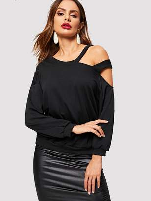 6d32a25757 Shein Asymmetrical Cut Out Shoulder Sweatshirt