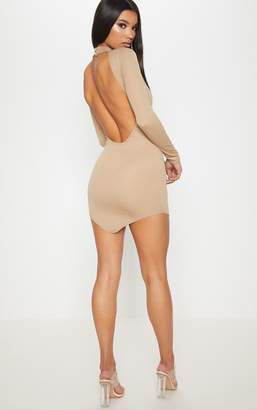 PrettyLittleThing Taupe High Neck Extreme Scoop Back Pointy Hem Bodycon Dress