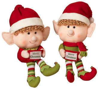 Sterling Jumbo Head Plush Elf Shelf Sitters - Set of 2