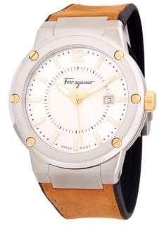 Salvatore Ferragamo Stainless Steel Leather-Strap Watch
