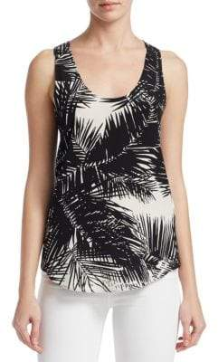 Theory Silk Palm Print Tank Top