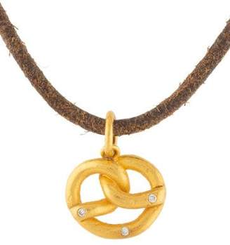 Yossi Harari 24K Diamond Pretzel Leather Pendant Necklace