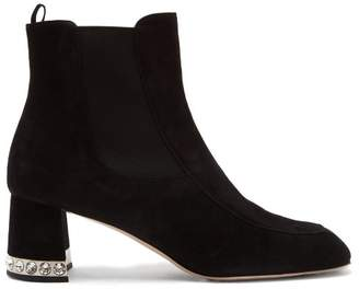 Miu Miu Crystal Embellished Suede Ankle Boots - Womens - Black
