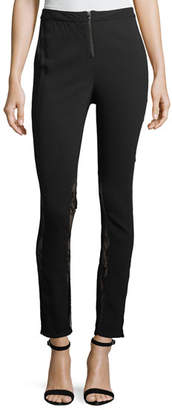 Haute Hippie The Thorny Rose Skinny-Leg Pants with Lace Inserts