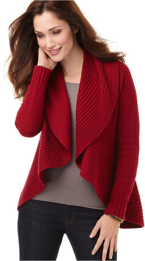 Grace Elements Sweater, Long Sleeve Ruffle Cardigan