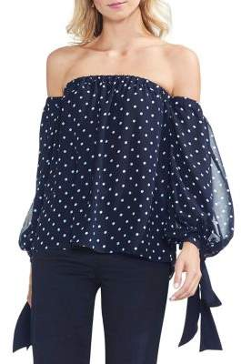 Vince Camuto Sapphire Bloom Off-the-Shoulder Blouse