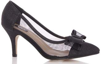 ca42ebccb05 Quiz Black Bow Mesh Point Low Heel Courts