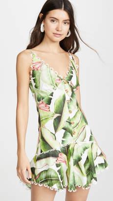 FARM Rio White Palms Mini Dress