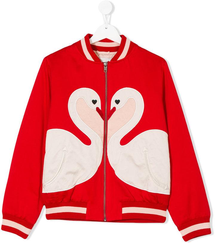 Stella McCartney satin swan bomber jacket