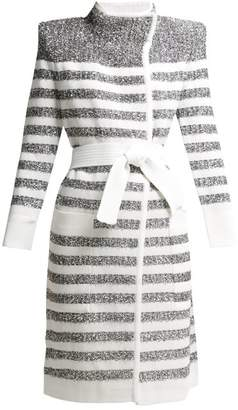 Balmain Belted Tinsel Striped Cardigan - Womens - White Silver