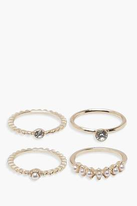boohoo Fiona Faux Pearl Diamante Rings 4 Pack