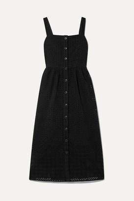 J.Crew Coletta Broderie Anglaise Cotton-voile Midi Dress - Black