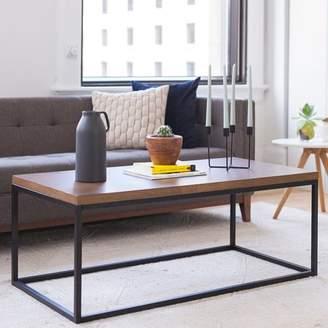 Nathan James Doxa Solid Wood Modern Industrial Coffee Table, Black Metal Box Frame With Dark Walnut Finish