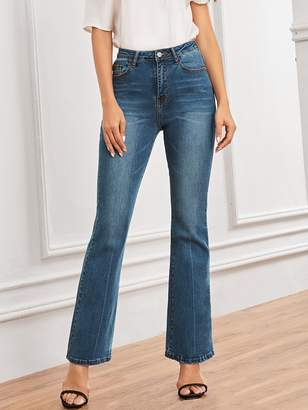 Shein Cat Whiskers Pocket Detail Flare Jeans