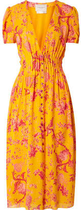 Carolina Herrera Pintucked Floral-print Silk Crepe De Chine Midi Dress - Orange