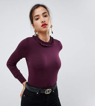 Oasis jumper with frill neck in burgundy