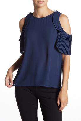 Cynthia Steffe CeCe by Cold Shoulder Pleated Blouse