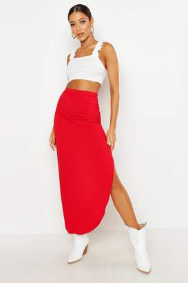 boohoo Rouched Side Jersey Maxi Skirt