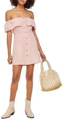 Topshop Off the Shoulder Button Front Minidress