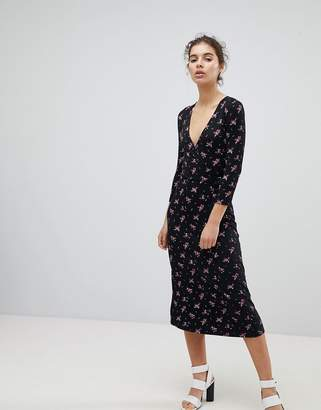 Miss Selfridge Wrap Front Ditsy Floral Print Midi Dress