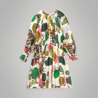 Burberry Tree Print Cotton Silk Dress