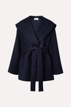 The Row Reyna Hooded Belted Cotton And Wool-blend Jacket - Navy