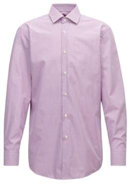BOSS Hugo Slim-fit shirt in cotton poplin vertical stripe 14.5/R Dark pink
