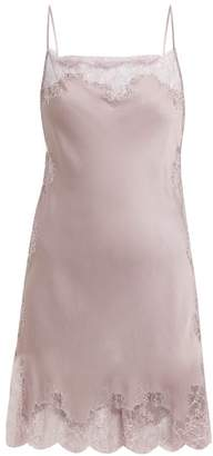 Carine Gilson Lace Trimmed Silk Satin Slip Dress - Womens - Light Purple