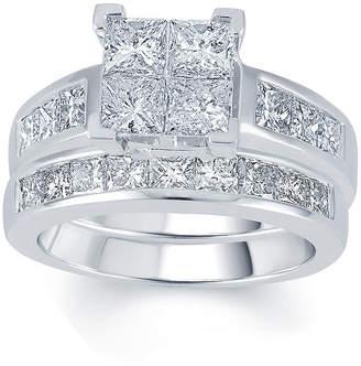JCPenney MODERN BRIDE 3 CT. T.W. Diamond 14K White Gold Quad Princess Bridal Ring Set