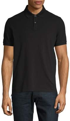 Black Brown 1826 Solid Pique Short Sleeve Polo