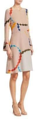 Akris Punto Scallop Print Silk Dress