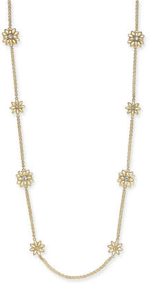 """Charter Club Gold-Tone Crystal & Imitation Pearl Flower Station Necklace, 42"""" + 2"""" extender, Created for Macy's"""