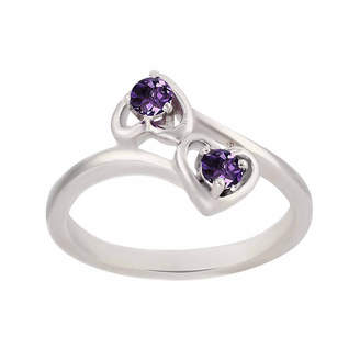 FINE JEWELRY Genuine Amethyst Sterling Silver Two Heart Ring