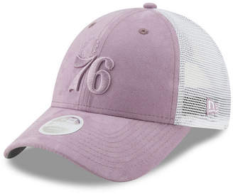 3bb4fdbe3cc4a New Era Women Philadelphia 76ers Suede Trucker 9FORTY Snapback Cap