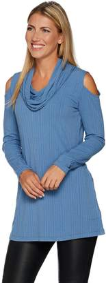 Women With Control Attitudes by Renee Cold Shoulder Ribbed Knit Cowl Neck Tunic