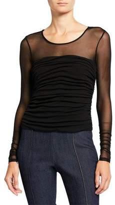 Cinq à Sept Zephyr Shirred-Bodice Long-Sleeve Sheer Top