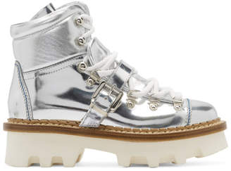 Moncler Silver Winter Hiking Boots